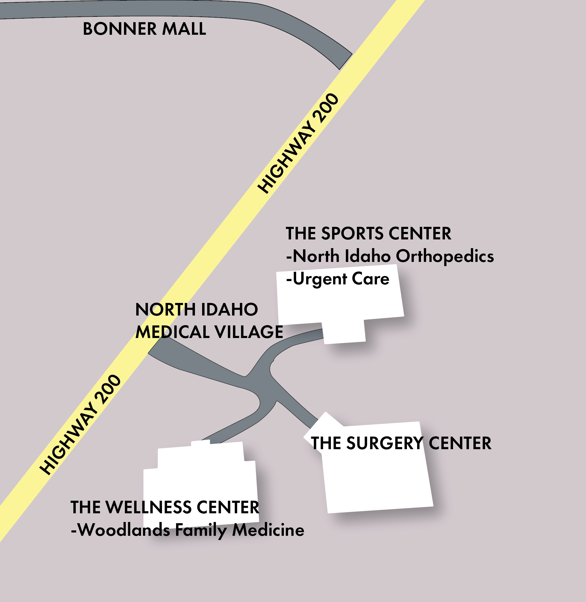Map depicting the buildings and clinics. NIOUC has walk in options.